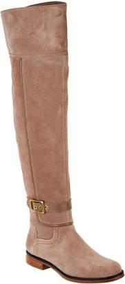 Franco Sarto Wide Calf Suede Over-the-Knee Boots - Crimson