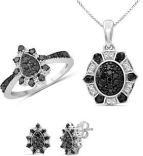 Jewelersclub JewelersClub 1.00 Carat T.W. Black And White Diamond Sterling Silver 3 Piece Pear Shape Jewelry Set
