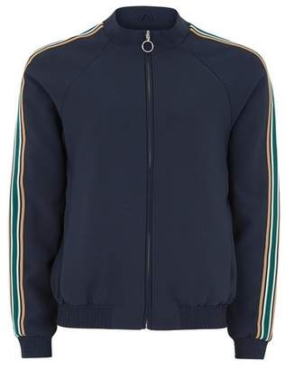Topman Mens Navy Zip Through Taping Smart Track Top