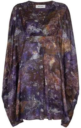 MÄRTA LARSSON amethyst printed silk kaftan dress