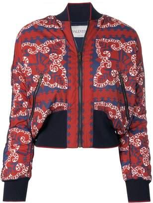 Valentino logo print bomber jacket