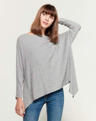 1 STATE 1.State Rib Knit Asymmetric Long Sleeve Tie Back Tee