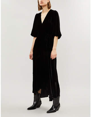 Ganni Aldine velvet midi wrap dress