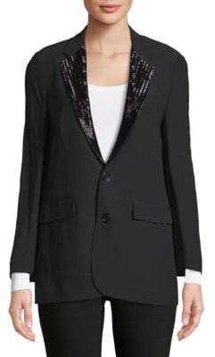 Ralph Lauren Yvette Beaded-Lapels Jacket