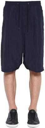 Giorgio Armani Viscose & Linen Shorts W/ Drawstring