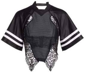 Alexander Wang Lace& Jersey Hybrid Top