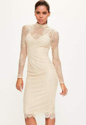 Missguided Tall Nude High Neck Lace Dress