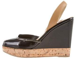 Prada Patent Leather Slingback Wedges