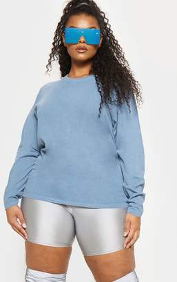 PrettyLittleThing Plus Dusky Blue Long Sleeve T-shirt