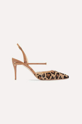 b103a387838 Jennifer Chamandi Vittorio 85 Leopard-print Calf Hair And Patent-leather  Slingback Pumps -