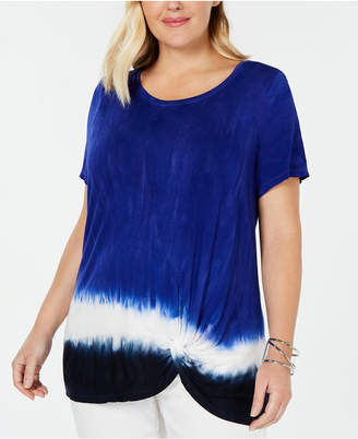 INC International Concepts I.n.c. Plus Size Twisted Tie Dye Top