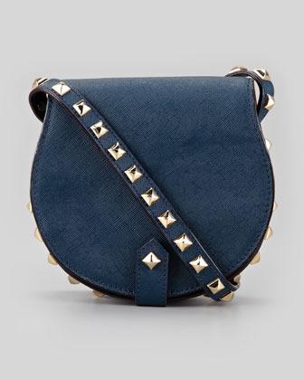 Rebecca Minkoff Skylar Saffiano Studded Mini Messenger Bag, Midnight