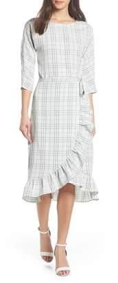 Chelsea28 Plaid Faux Wrap Midi Dress