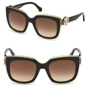 Roberto Cavalli 51MM Monogram Crest Square Sunglasses