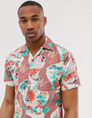 Replay revere collar short sleeve shirt in multi
