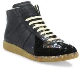 Maison Margiela Replica Paint-Splatter Mid-Top Sneakers