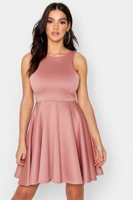 boohoo Scuba Full Skirt Skater Dress