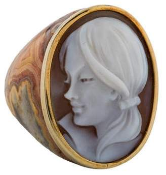 Amedeo Carved Jasper & Shell Cameo Ring