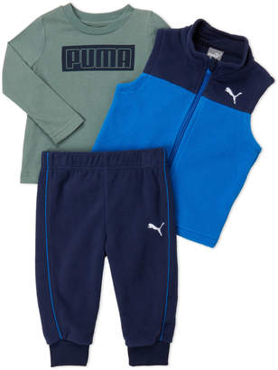 Puma Infant Boys) 3-Piece Fleece Vest & Long Sleeve Tee Set