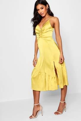 boohoo Ruched Split Front Midi Slip Dress