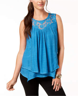Style&Co. Style & Co Lace-Trim Swing Top, Created for Macy's