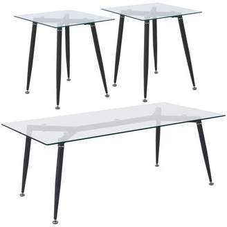 Chetnut Hill Collection Flash Furniture 3 Piece Coffee and End Table Set with Glass Tops and Sleek Matte Black Metal Legs