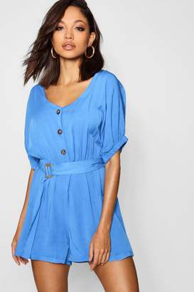 boohoo Button Belted Short Sleeve Playsuit