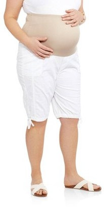 Oh! Mamma Maternity Overbelly Stretch Poplin Bermuda Shorts - Available in Plus Sizes