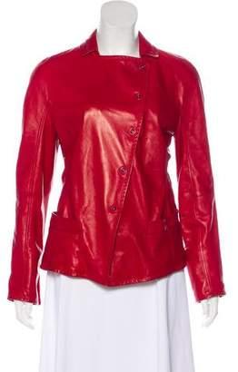 Giorgio Armani Leather Notch-Lapel Jacket