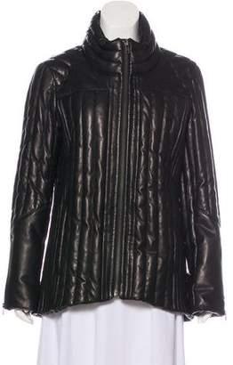 Helmut Lang Leather Down Short Coat