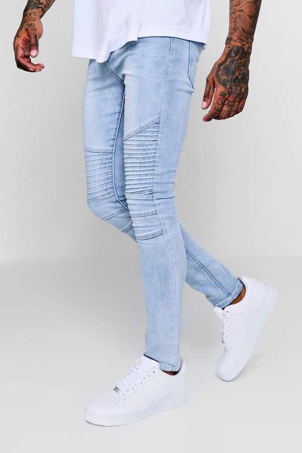 Super Skinny Washed Blue Biker Jeans