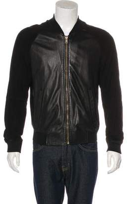 Alexander McQueen Suede-Trimmed Leather Bomber Jacket