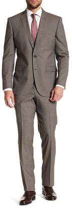 Kenneth Cole New York Gingham Two Button Notch Lapel Wool Suit