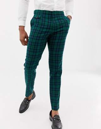 Asos DESIGN wedding skinny suit pants in blackwatch plaid