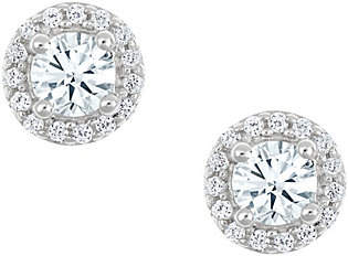 Affinity Diamond Jewelry Round Halo Earrings, 14K White Gold, 1/4 cttw,by Affinity