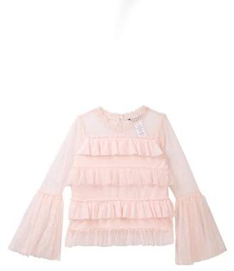 Bebe Ruffled Jersey Tulle Knit Top (Big Girls)