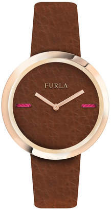 Furla 34mm My Piper Watch w/ Leather Strap, Brown