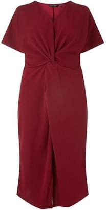 Dorothy Perkins Womens **DP Curve Wine Knot Front Shift Dress