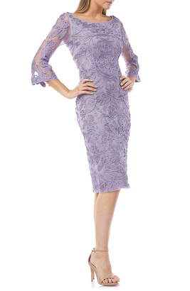 JS Collections Soutache Chiffon Sheath Dress