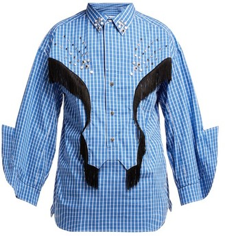 Toga Fringed Cotton Blend Western Shirt - Womens - Blue