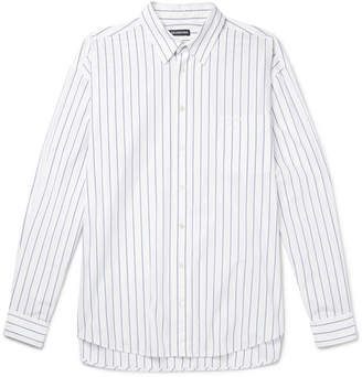 Balenciaga Oversized Striped Cotton-Poplin Shirt - White
