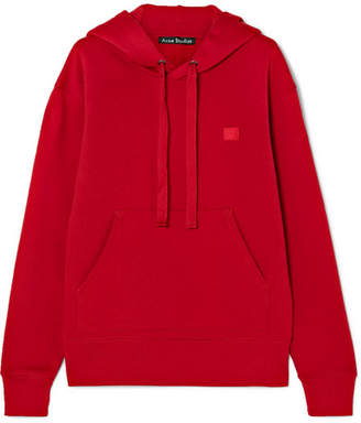 Acne Studios Ferris Face Appliquéd Cotton-jersey Hoodie - Red