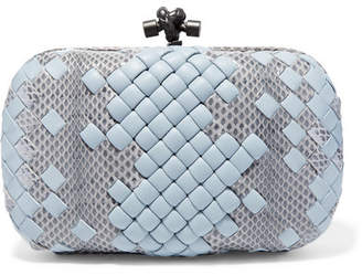 Bottega Veneta The Knot Watersnake And Leather Clutch - Light blue