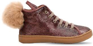 Ocra Sequined Leather Sneakers W/ Fur Pompom