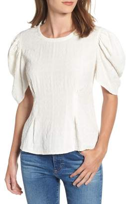 Hinge Embroidered Puff Sleeve Top