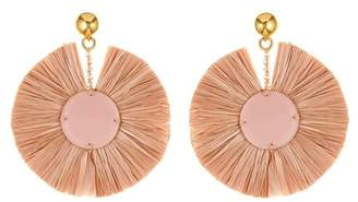 Oscar de la Renta Small Raffia Disk Drop Earrings