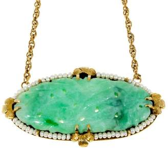 14K Yellow Gold Carved Oval Jadeite Jade Pearl Pendant Vintage Chain Necklace