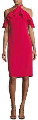 Shoshanna Laight Stretch-Crepe Cold-Shoulder Dress