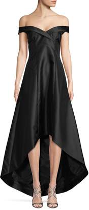 Calvin Klein Off-The-Shoulder High-Low Gown