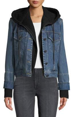 Alice + Olivia JEANS Rumor Boxy Hooded Denim Jacket